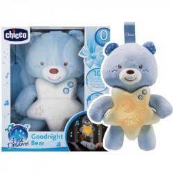 CHICCO Goodnight medvedík svietiaci modrý