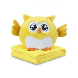 DORMEO NALADOVA SOVA 3v1 - vankúš a deka plyšová hračka žltá - šťastná